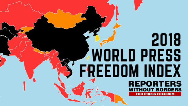 Reporters Without Borders releases 2018 World Press Freedom Index ranking the level of freedom available to journalists in 180 countries.