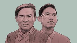 RFA cartoonist Rebel Pepper's rendering of former RFA journalists Uon Chhin and Yeang Sothearin.
