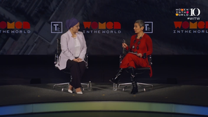 RFA Uyghur journalist Gulchehra Hoja is interviewed at the 10th annual Women in the World conference in April, 2019.