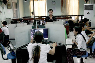 Most Internet users in Burma must use Internet shops because few have computers at home.