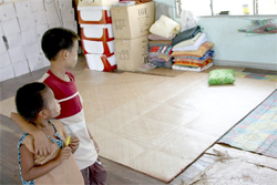 The boys and girls will sleep on floor mats until their dormitory is finished. Photo: RFA/Tyler Chapman