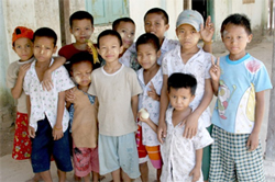 A group of orphans from Cyclone Nargis, in a monastery on the edge of the devastation. Photo: RFA/Tyler Chapman