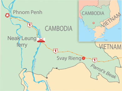 "Map of Cambodia and Vietnam showing the area called the ""Parrot's Beak,"" a chunk of Cambodia protruding into the neighboring country. (RFA Graphic) <a href=""http://www.rfa.org/english/blog/cambodiablog/novak-08192009180038.html/CambodiaParrotPeak081909.pdf"" target=""_blank"">See larger map</a> (PDF)"