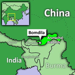 A map displays Bomdila in the Indian state of Arunachal Pradesh.