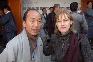 Maura Moynihan with Tibetan Youth Congress President Tsewang Rigzin.