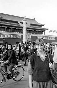 Muriel Southerland at Tiananmen Square during the early stages of the student demonstrations, April 27, 1989.