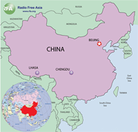 Chengdu was the jumping-off point for flights to Lhasa. RFA map.