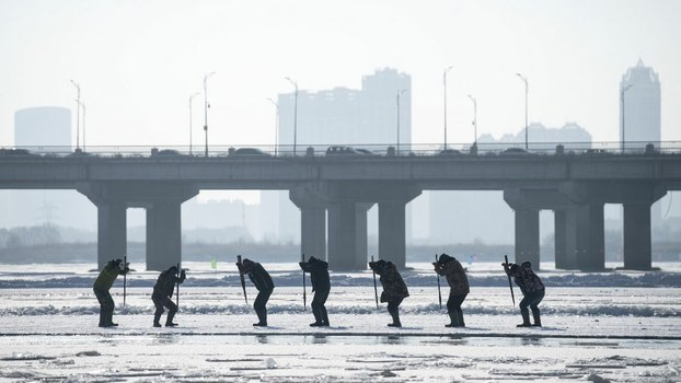 Workers using picks to cut ice blocks from the frozen Songhua river for the annual Ice Festival in Harbin, China's northeastern Heilongjiang province, Dec. 12, 2019.