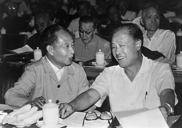 Hu Yaobang (L) and China's former premier Zhao Ziyang (R) in Beijing in a file photo.