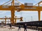 A view of the KTZE-Khorgos Gateway Dry port, a logistics hub on the Kazakh side of the Kazakhstan-Chinese border, April 15, 2019.