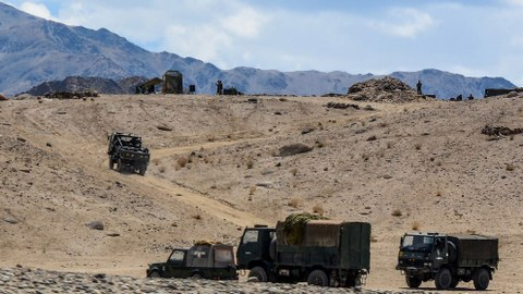 Indian army soldiers drive vehicles along mountainous roads as they take part in a military exercise at Thikse in Leh district of the union territory of Ladakh, July 4, 2020.