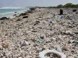 Plastic trash is seen strewn across a beach at Wake Island in the Pacific Ocean, Feb. 2, 2018.
