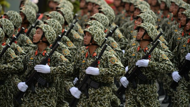 Vietnam army special forces soldiers march during a parade marking the 40th anniversary of the fall of Saigon in Ho Chi Minh City, April 30, 2015.
