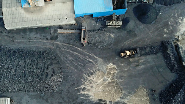 An aerial view of a coal storage facility in Hejin, central China's Shanxi Province, Nov. 28, 2019.