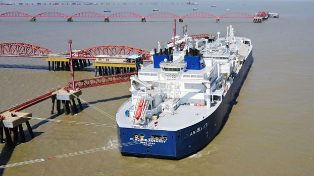 The liquefied natural gas tanker 'Vladimir Rusanov' is seen following its arrival from Russia's Arctic Yamal peninsula at an LNG terminal in Nantong, eastern China's Jiangsu province , July 19, 2018.