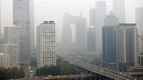 Smog engulfs Beijing's central business district on a polluted day in China's capital, Oct. 15, 2018.