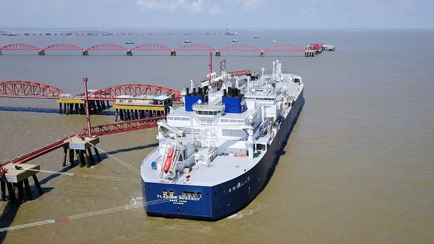 The Vladimir Rusanov, a liquefied natural gas (LNG) tanker, arrives at a LNG terminal in China's Jiangsu province from Russia's Arctic Yamal peninsula, July 19, 2018.