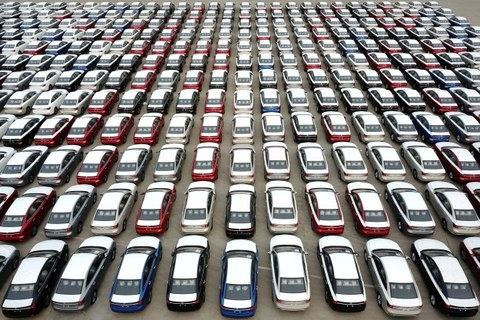 Cars for export are seen at a port in Lianyungang, Jiangsu province, China April 2, 2020.
