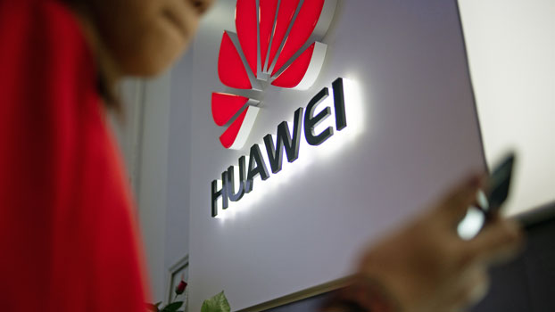 The logo of Chinese telecom giant Huawei is displayed at a retail store in Beijing, May 27, 2019.