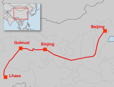 A map detailing the railway route between Beijing and Lhasa. Credit: RFA