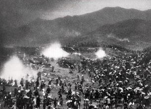 Chinese farmers attempt to make steel by melting down pots and pans at the start of the Great Leap Forward in 1958.