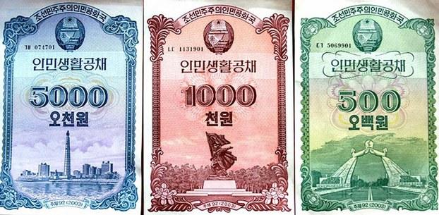 File photo of North Korean government bonds.