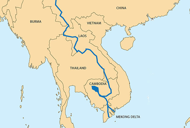 Map showing the course of the Mekong River through Southeast Asia.