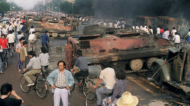 The aftermath of the military crackdown on pro-democracy protests at Tiananmen Square, June 4, 1989.