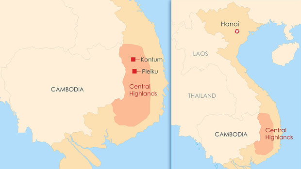 A map showing the location of Vietnam's Central Highlands.