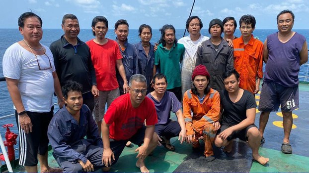This photo showing Crewmembers of the Cameroonian-registered Courageous was released by Cambodia's National Police. The Courageous is suspected to have been involved in ship-to-ship transfers with North Korea in violation of UN Sanctions.