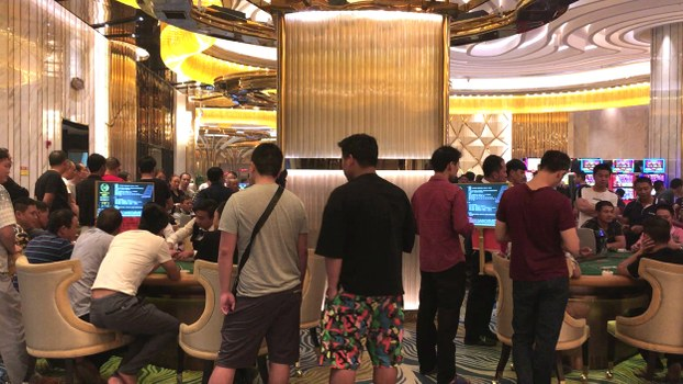 A still photo from a video grab taken on Dec. 13, 2018 shows Chinese customers gambling inside a Chinese-run casino in Sihanoukville, the coastal capital of Preah Sihanouk province.