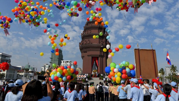 Balloons are released at the Independence Monument during a ceremony marking Cambodia's Independence Day in Phnom Penh, Nov. 9, 2020.