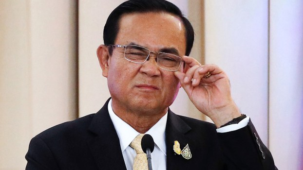 Thailand's Prime Minister Prayuth Chan-O-Cha reacts during a press conference at Government House in Bangkok, Nov. 5, 2019.