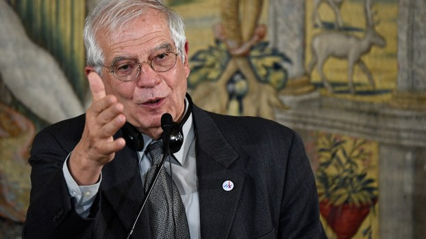 High Representative of the European Union for Foreign Affairs and Security Policy Josep Borrell gives a press conference during the 14th ASEM Foreign Ministers' Meeting at the Royal Palace of El Pardo near Madrid, Dec. 16, 2019.