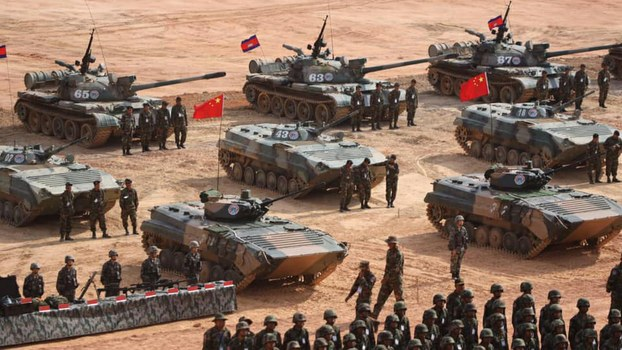 Cambodian and Chinese tank units take part in the 'Golden Dragon' military exercises in Cambodia's Kampot province, March 13, 2019.
