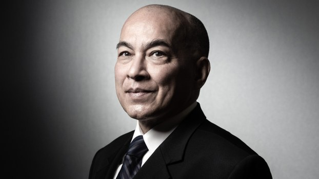 Cambodian King Norodom Sihamoni poses during a photo session in his workshop at the Institut de France in Paris, May 24, 2019.