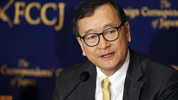 Cambodia's self-exiled opposition leader Sam Rainsy speaks during a press conference in Tokyo, April 13, 2018.