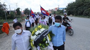 Police in Cambodia block activists from attending ceremonies on the fourth anniversary of Kem Ley's death, July 10, 2020.