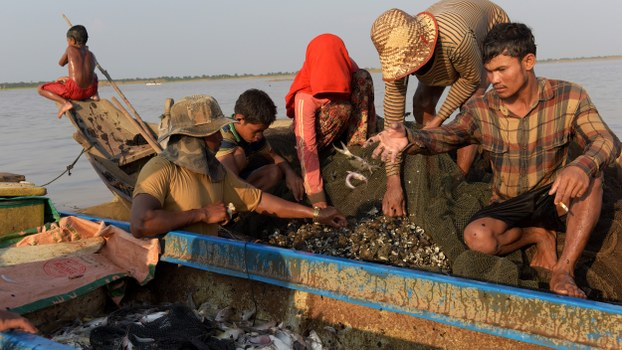 Fishermen collect their catch from a fishing net on a boat on the Tonle Sap Lake in Siem Reap, in a file photo.