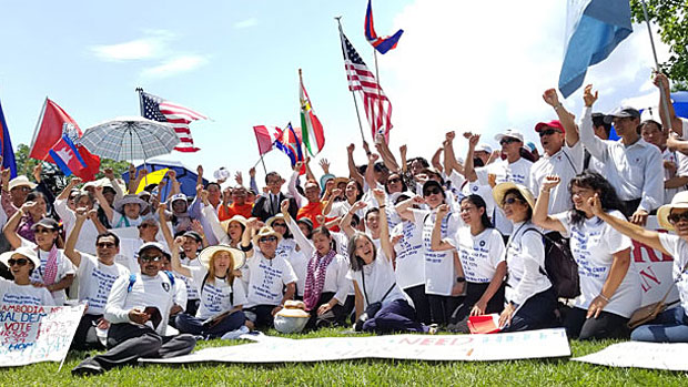 Cambodians living overseas join opposition leader Sam Rainsy in Washington to urge passage of legislation sanctioning Cambodian officials, July 17, 2019.