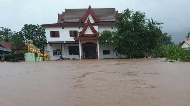 Tropical Storm Noul flooded homes and a temple in Pakse city, Champassak province, Laos. Photo taken between Sept.18-20, 2020.