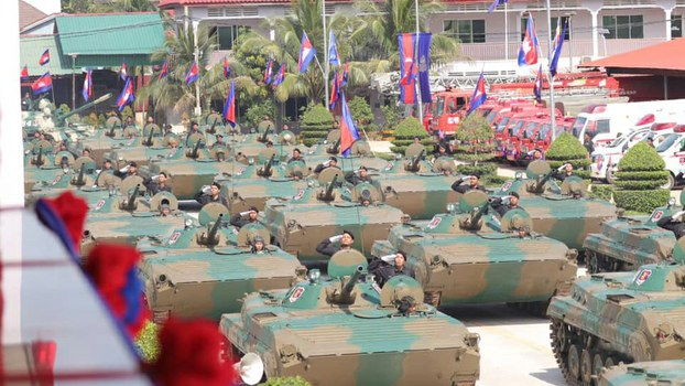 Tanks on display during a parade to commemorate the 25th anniversary of the founding of Royal Cambodian Armed Forces (RCAF) Brigade 70 in Phnom Penh, Oct. 14, 2019.