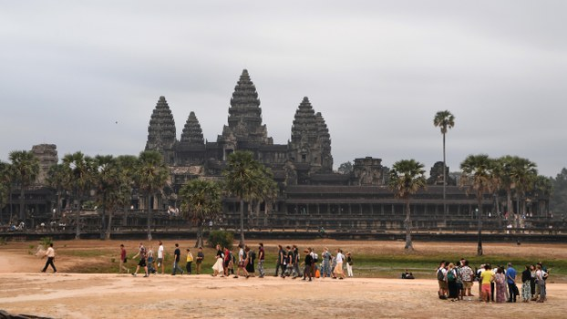 Tourists visit Angkor Wat temple in Siem Reap province, March 5, 2020.