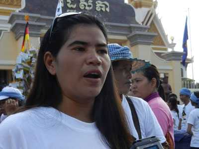 Boeung Kak community representative Tep Vanny takes part in the protest, Dec. 17, 2012. Credit: RFA