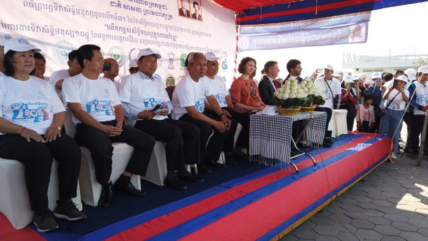 Representatives of civil society groups gather at Freedom Park in Phnom Penh to mark International Human Rights Day, Dec. 10, 2019.