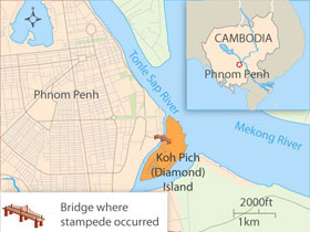 Map showing the location of the deadly stampede. RFA
