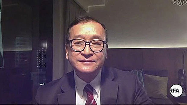 Cambodia National Rescue Party president Sam Rainsy speaks to RFA in an interview on Skype in a file photo.