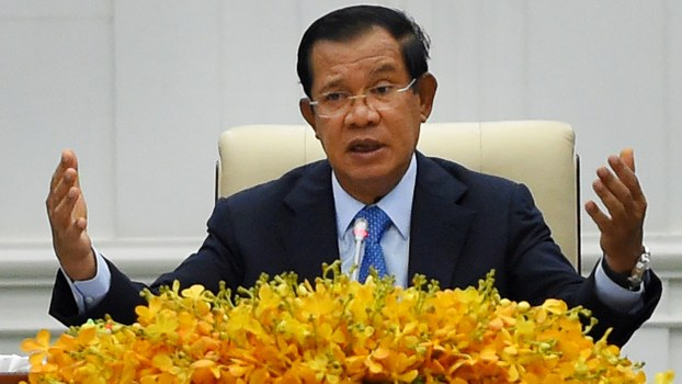 Cambodia's Prime Minister Hun Sen speaks to the media during a press conference at the Peace Palace in Phnom Penh, Feb. 24, 2020.