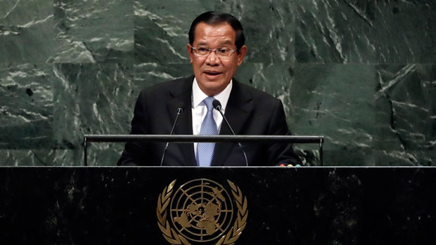 Cambodian prime minister Hun Sen addresses the UN General Assembly in New York, Sept. 28, 2018.