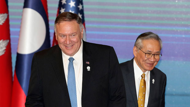 US Secretary of State Mike Pompeo joins Thai foreign minister Don Pramudwinai at a press conference in Bangkok, Aug. 1, 2019.